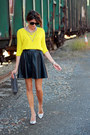 Gap-sweater-black-leather-skirt-silver-heels