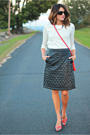 black quilted Uniqlo skirt - eggshell worn as shirt H&amp;M dress - red Tahari bag