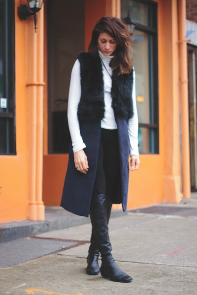 Choies vest - black Vince Camuto boots - white turtleneck f21 top