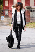 black jeans - black cardigan - ivory lace top - white vest
