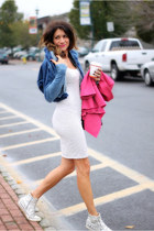 blue Diesel sweatshirt - hot pink asos blazer - off white free people hoodie