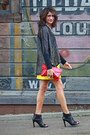 Gray-free-people-sweater-red-vintage-bag-yellow-vintage-skirt