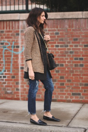 black Burberry loafers - Paige Denim jeans - black BB Dakota vest