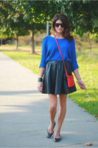 blue sweater - red bag - black skirt