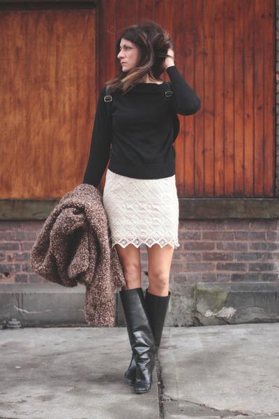 black Sheinside sweatshirt - black Manolo Blahnik boots - vintage sweater