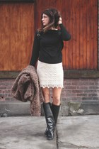 black Sheinside sweatshirt - black Manolo Blahnik boots - vintage sweater