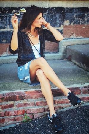 vintage jacket - denim asos skirt - nike sneakers