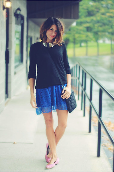 blue dress - black sweatshirt - bubble gum flats