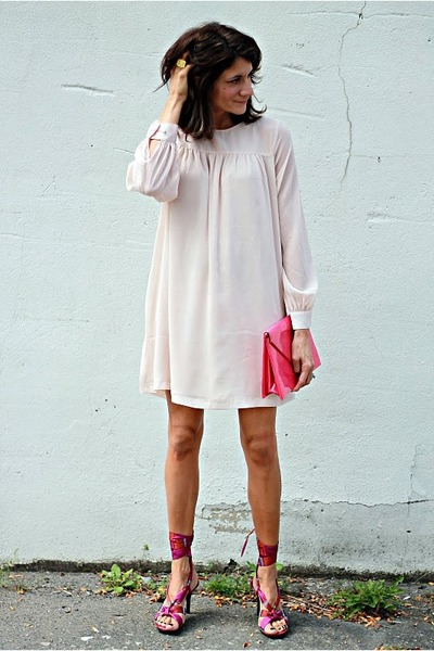 light pink H&M dress - hot pink vintage bag - deep purple Kenneth Cole heels