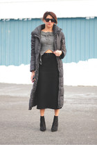 black Kurt Geiger boots - dark gray H&M coat - charcoal gray Diesel shirt