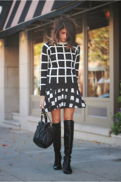 grid PERSUNMALL sweater - Vince Camuto boots - Gap skirt