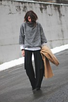 gray Mango sweater - camel vintage coat - black Ronen Chen pants
