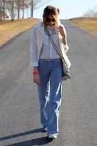 hot pink Jcrew bracelet - white H&M shirt - sky blue Diesel pants