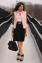 light pink thrifted vintage vest - black skirt