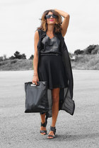 black sheer t by alexander wang dress - black acne bag