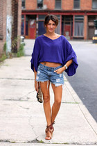 deep purple shirt - denim shorts - brown Chloe heels