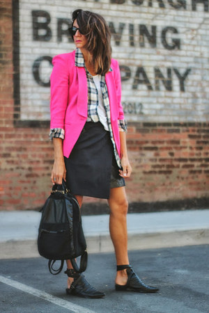 plaid shirt - hot pink asos blazer - navy rag & bone skirt