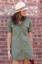 fedora hat - olive green dress