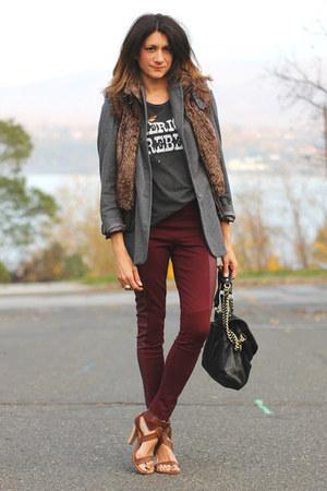 faux fur vest - blazer