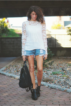 lace Choies shirt - levis denim shorts