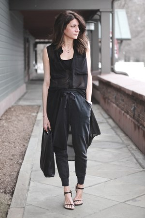 black Alexander Wang dress - black acne bag - gray Zara pants