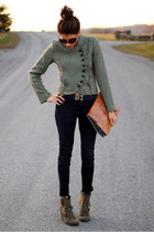 olive green thrifted vintage jacket - army green big buddah boots