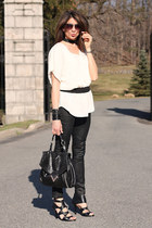 black faux leather pants - cream calvin klein shirt - black Miss Sixty heels