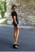 black MNG shirt - denim shorts - black Jessica Simpson wedges