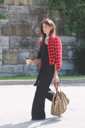 red vintage jacket - black bodysuit