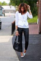 white vest - black faux leather pants - silver heels
