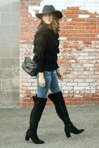 black fringe sweater - Zara boots - blue blank nyc jeans