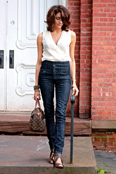 speedy Louis Vuitton bag - jeans - heels - top