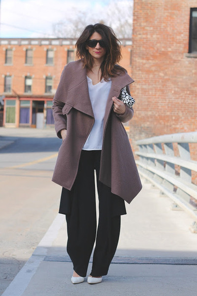light brown Ronen Chen coat - black Ronen Chen pants - white heels