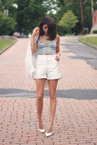white leather viinatge shorts - bralet Topshop top