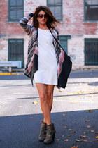 ivory H&M dress - sweater cardigan