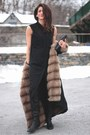 Black-alexander-wang-dress-fur-lined-vintage-coat