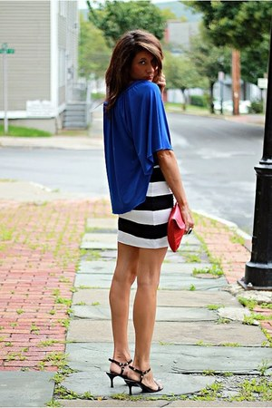 blue shirt - red vintage bag - striped H&M skirt - black Steve Madden heels