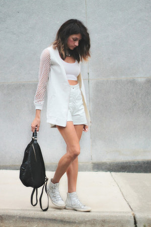 white anthom jacket - white vintage shorts - silver ASH sneakers