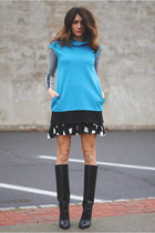 Manolo Blahnik boots - Express dress - Gap skirt