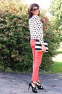 Hearts-h-m-shirt-salmon-h-m-pants-black-kenneth-cole-heels