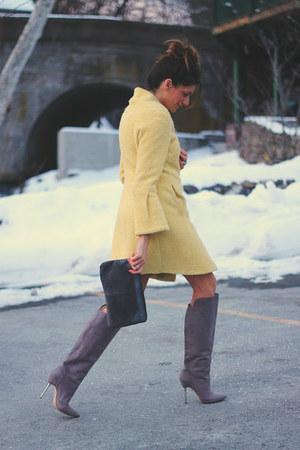 yellow Bebe coat - heather gray brian atwood boots