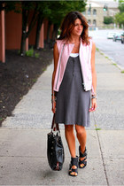 light pink leather vintage vest - calvin klein shoes - charcoal gray JCrew dress