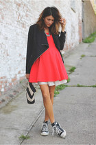 carrot orange dress - black jacket