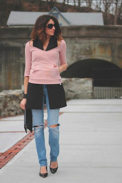 black BB Dakota vest - light pink Diesel sweatshirt