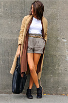 black boots - camel jacket - light brown tweed MNG shorts - dark brown cardigan