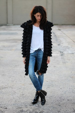 black ruffled designer jacket