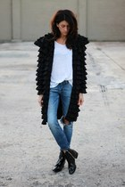 black ruffled designer jacket