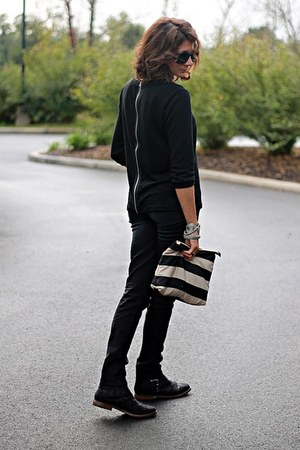 black Mossimo boots - black H&M jeans - black Gap sweater - striped H&M bag