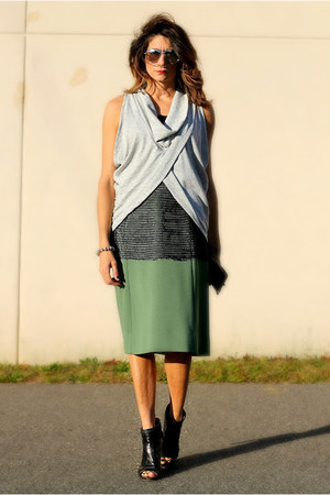 heather gray Diesel shirt - black Zara shirt - olive green skirt