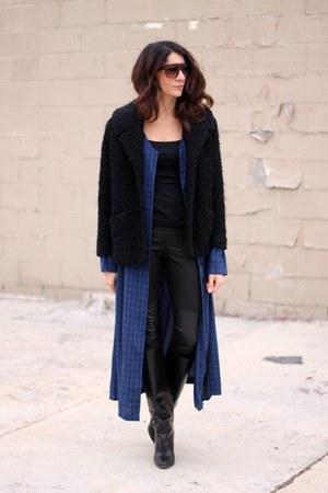 black vintage coat - blue vintage dress
